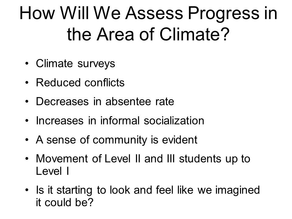 How Will We Assess Progress in the Area of Climate? Climate surveys Reduced conflicts Decreases in absentee rate Increases in informal socialization A