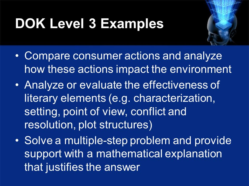 DOK Level 3 Examples Compare consumer actions and analyze how these actions impact the environment Analyze or evaluate the effectiveness of literary e