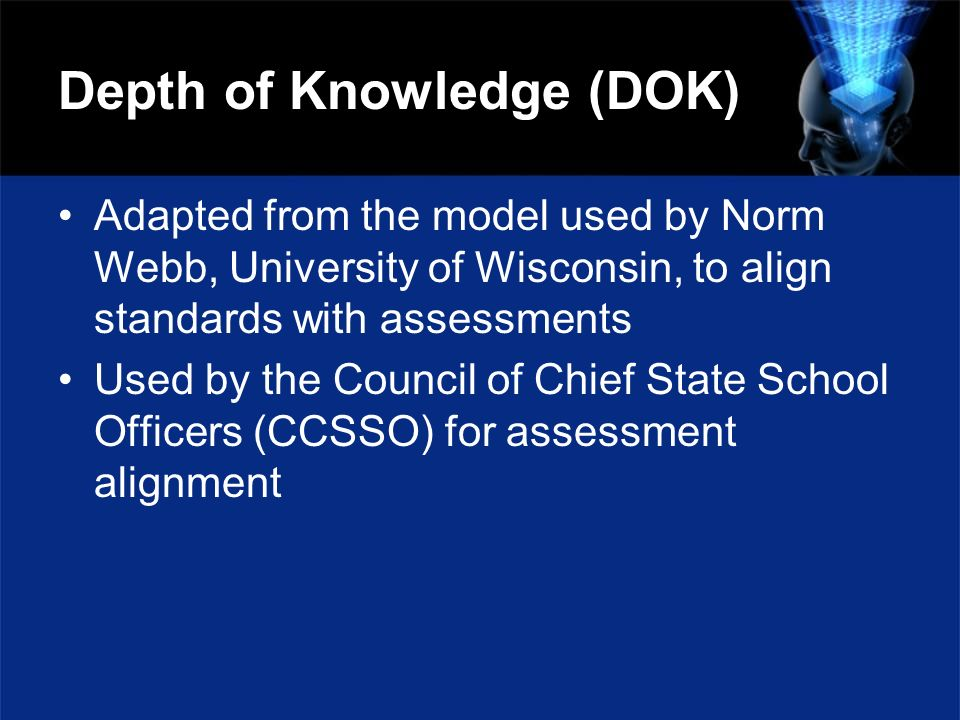 Depth of Knowledge (DOK) Adapted from the model used by Norm Webb, University of Wisconsin, to align standards with assessments Used by the Council of