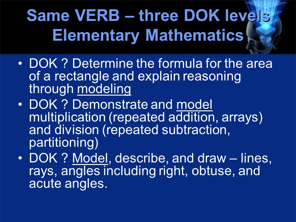Same VERB – three DOK levels Elementary Mathematics DOK ? Determine the formula for the area of a rectangle and explain reasoning through modeling DOK