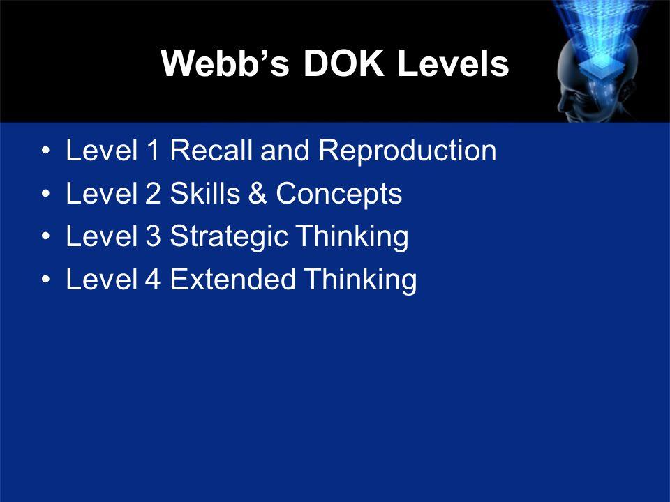 Webbs DOK Levels Level 1 Recall and Reproduction Level 2 Skills & Concepts Level 3 Strategic Thinking Level 4 Extended Thinking