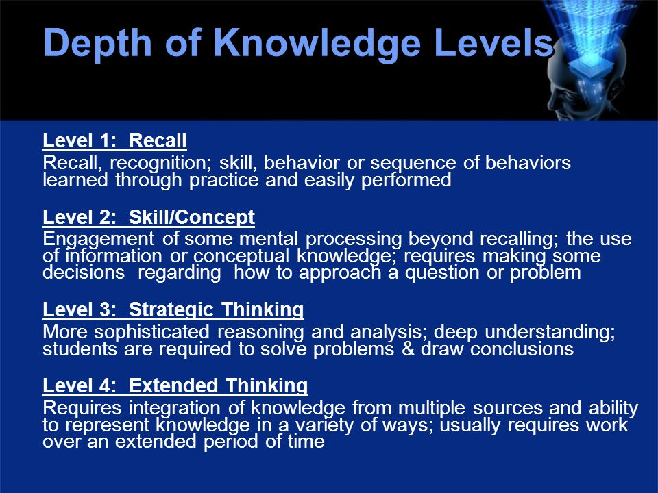 Depth of Knowledge Levels Level 1: Recall Recall, recognition; skill, behavior or sequence of behaviors learned through practice and easily performed