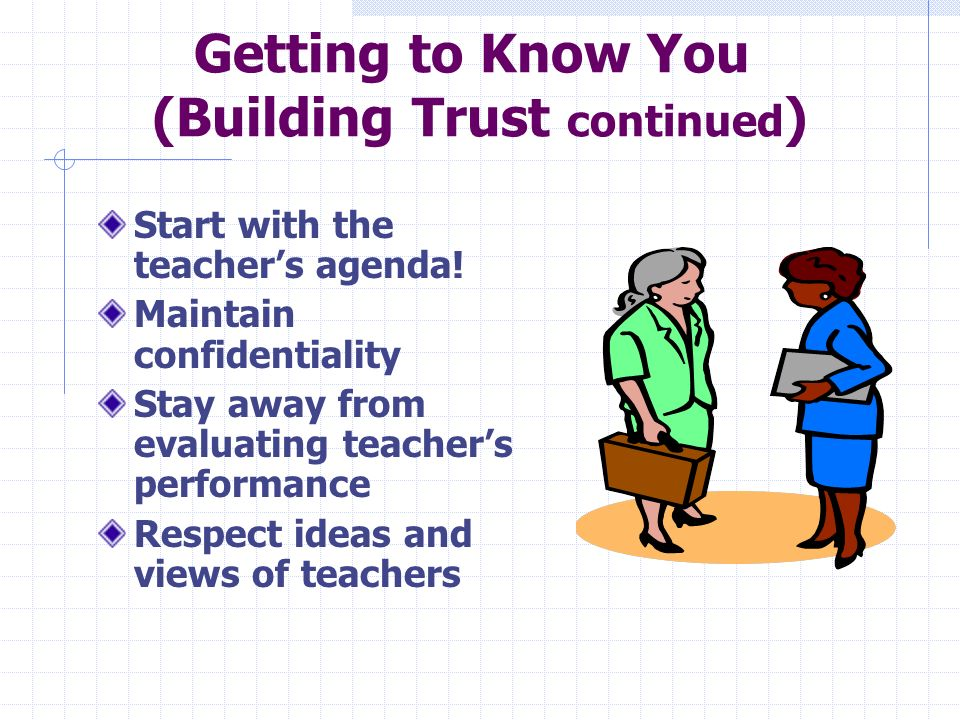 Getting to Know you (Building Trust) Characteristics that help to develop trust: Being a good listener Acting in a nonjudgmental way Keeping commitments Being interested in the person