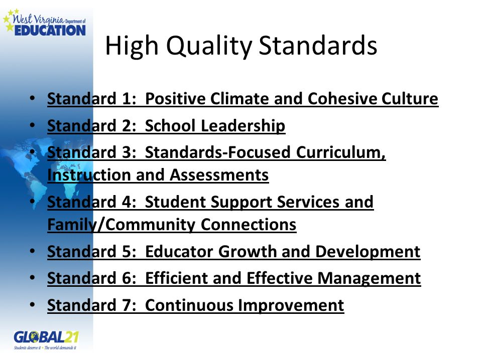 Standard 1: Positive Climate and Cohesive Culture Standard 2: School Leadership Standard 3: Standards-Focused Curriculum, Instruction and Assessments