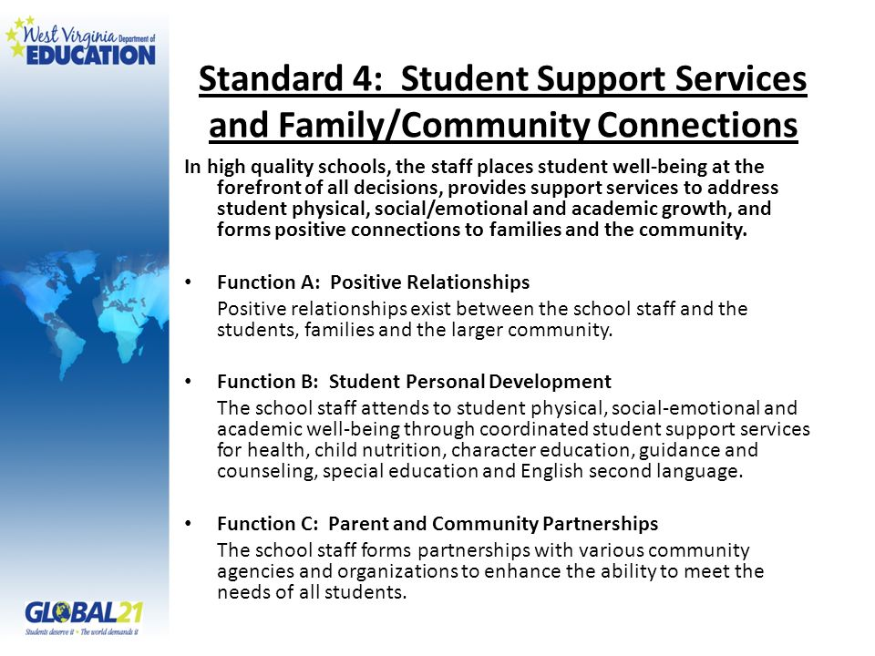 Standard 4: Student Support Services and Family/Community Connections In high quality schools, the staff places student well-being at the forefront of