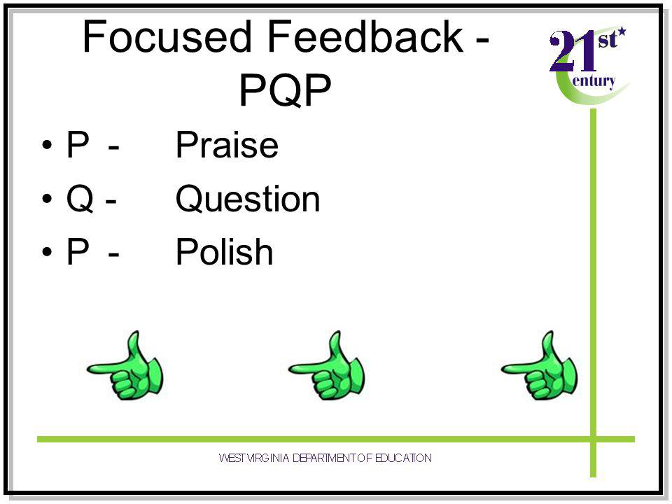 Focused Feedback - PQP P -Praise Q -Question P-Polish