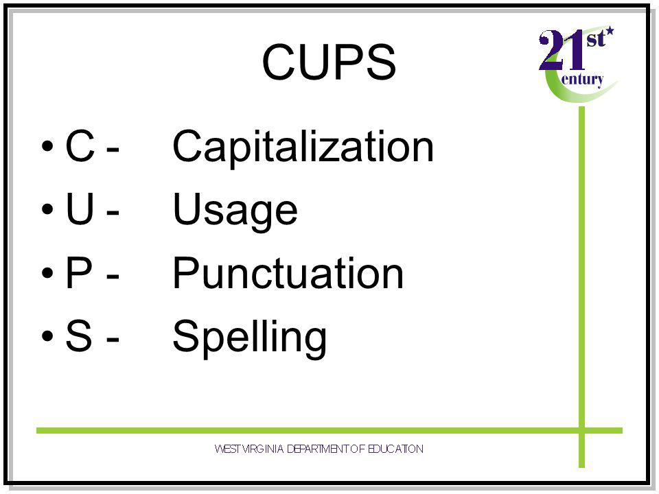 CUPS C-Capitalization U-Usage P-Punctuation S-Spelling