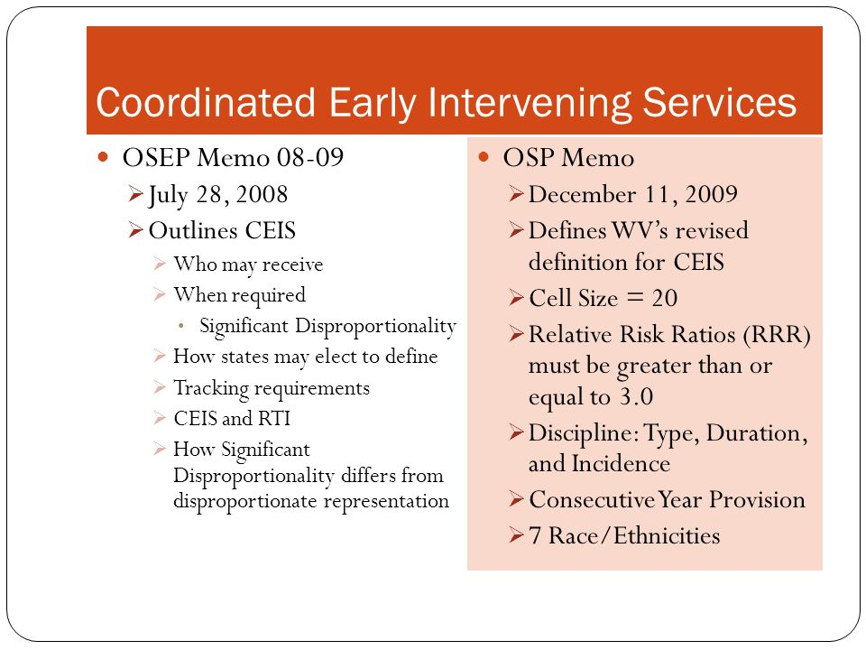 Coordinated Early Intervening Services OSEP Memo 08-09 July 28, 2008 Outlines CEIS Who may receive When required Significant Disproportionality How st