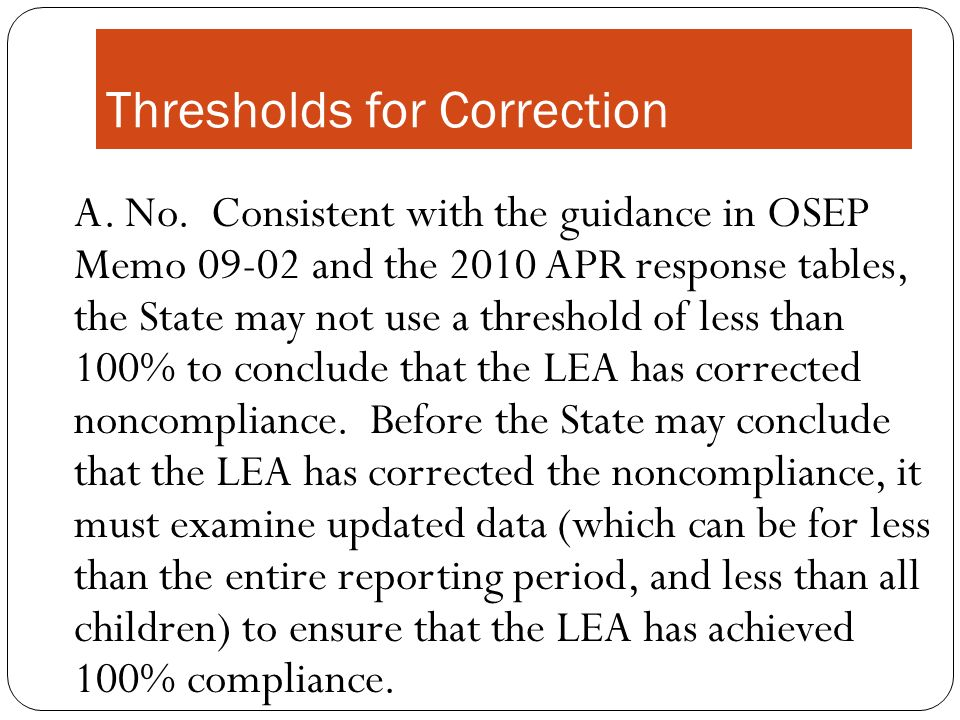Thresholds for Correction A. No.