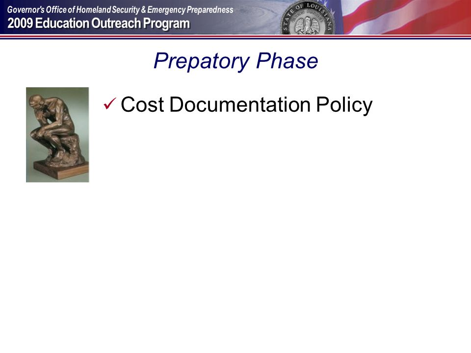 Prepatory Phase Cost Documentation Policy