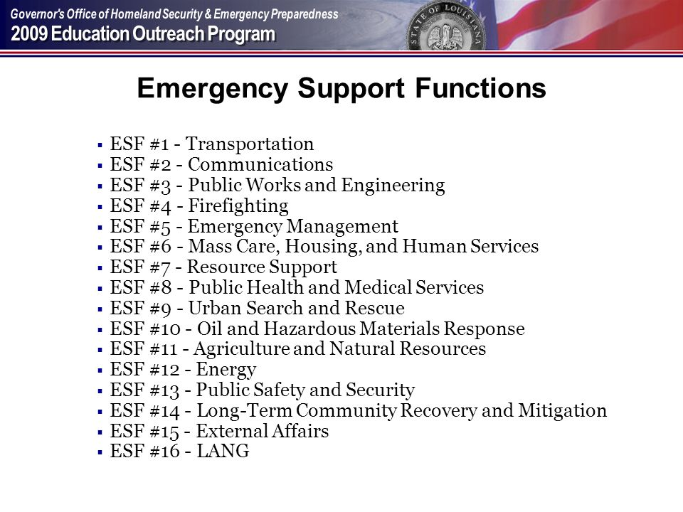 Emergency Support Functions ESF #1 - Transportation ESF #2 - Communications ESF #3 - Public Works and Engineering ESF #4 - Firefighting ESF #5 - Emerg