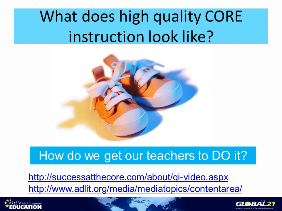 What does high quality CORE instruction look like? 13 http://successatthecore.com/about/qi-video.aspx http://www.adlit.org/media/mediatopics/contentar