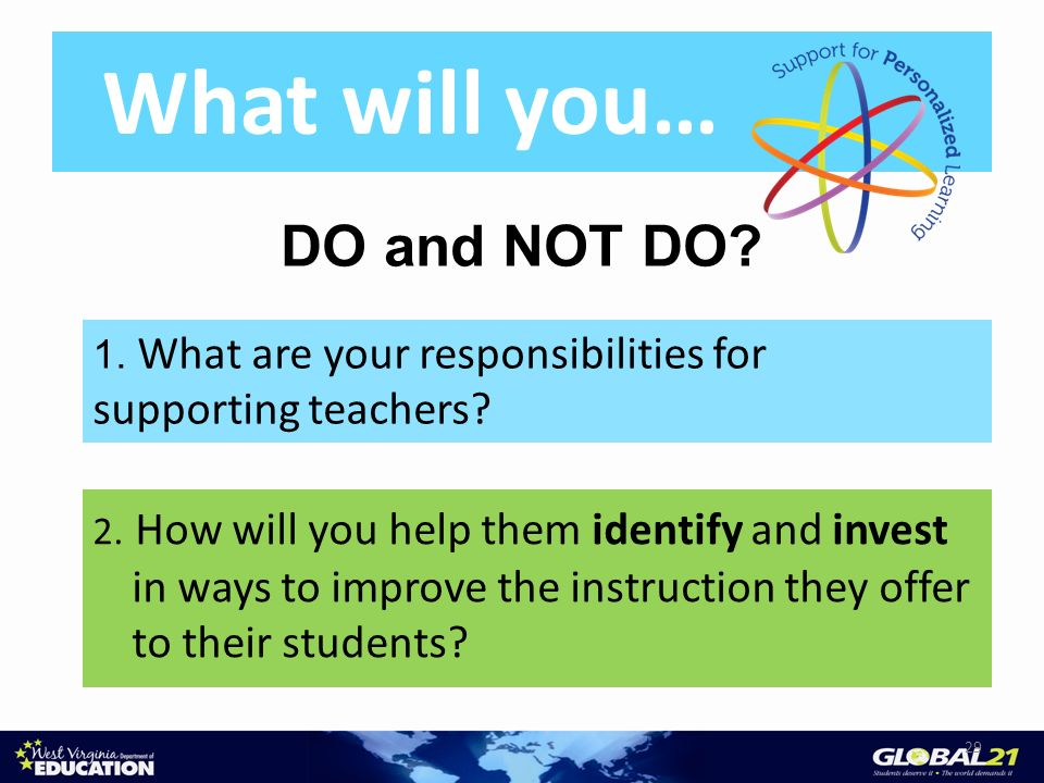What will you… 2. How will you help them identify and invest in ways to improve the instruction they offer to their students? 29 DO and NOT DO? 1. Wha