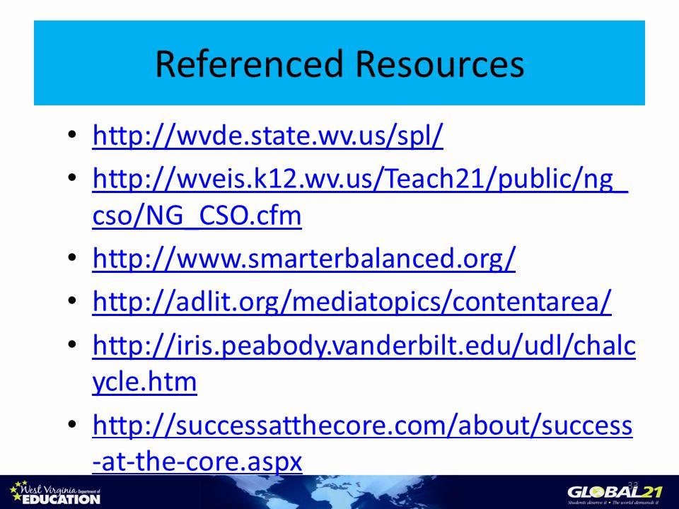 http://wvde.state.wv.us/spl/ http://wveis.k12.wv.us/Teach21/public/ng_ cso/NG_CSO.cfm http://wveis.k12.wv.us/Teach21/public/ng_ cso/NG_CSO.cfm http://www.smarterbalanced.org/ http://adlit.org/mediatopics/contentarea/ http://iris.peabody.vanderbilt.edu/udl/chalc ycle.htm http://iris.peabody.vanderbilt.edu/udl/chalc ycle.htm http://successatthecore.com/about/success -at-the-core.aspx http://successatthecore.com/about/success -at-the-core.aspx 33 Referenced Resources