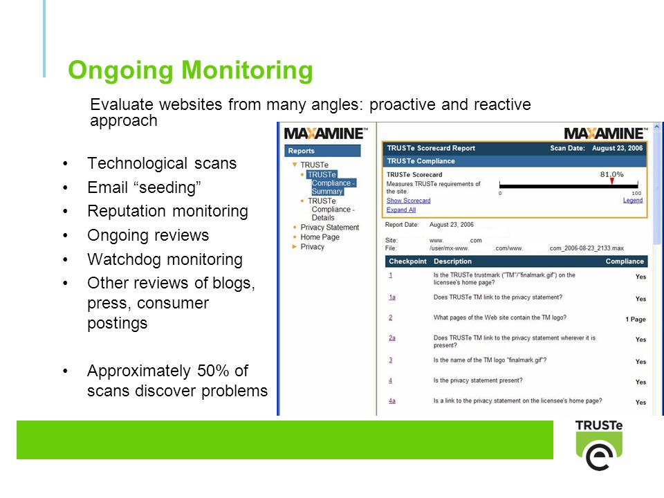 Evaluate websites from many angles: proactive and reactive approach Ongoing Monitoring Technological scans Email seeding Reputation monitoring Ongoing