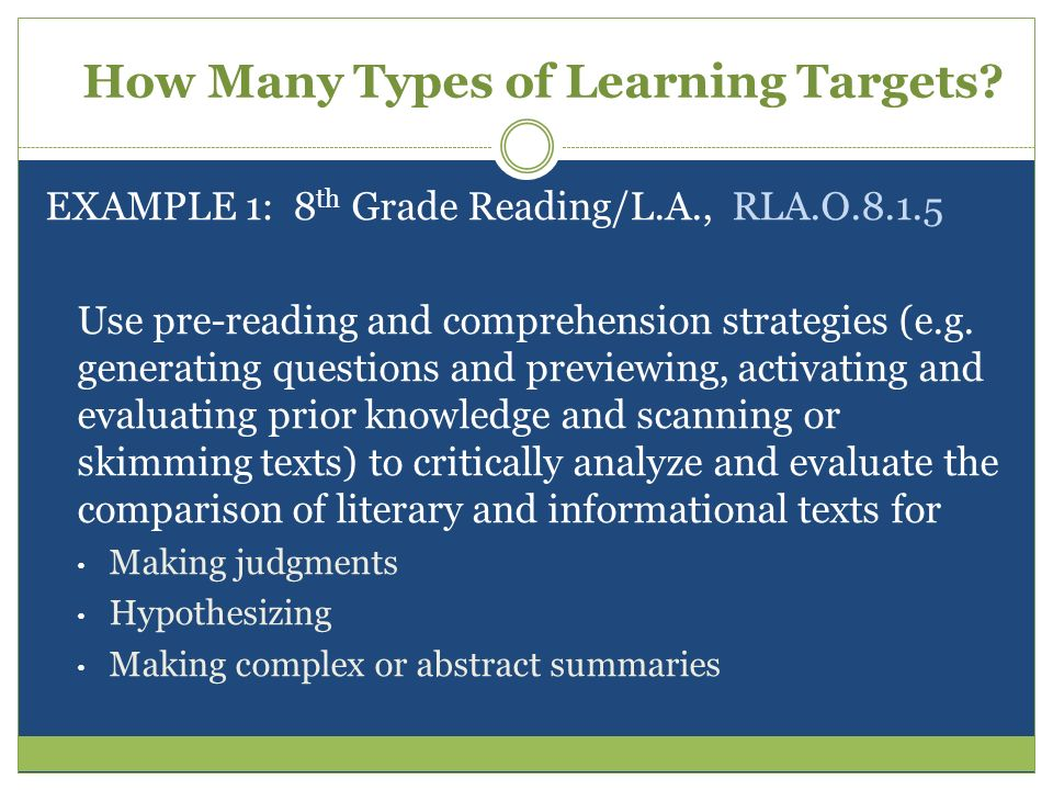 How Many Types of Learning Targets? EXAMPLE 1: 8 th Grade Reading/L.A., RLA.O.8.1.5 Use pre-reading and comprehension strategies (e.g. generating ques