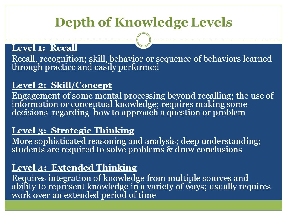 Understanding Depth of Knowledge DOK is about intended outcome, not difficulty.