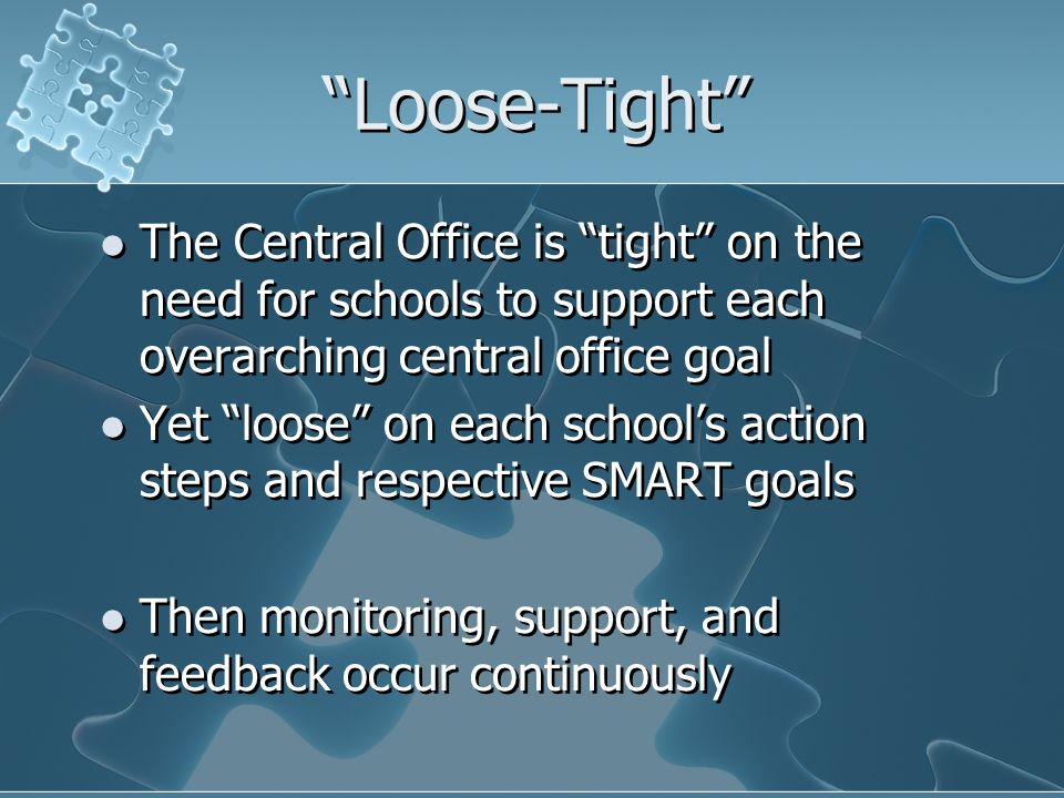 Loose-Tight The Central Office is tight on the need for schools to support each overarching central office goal Yet loose on each schools action steps