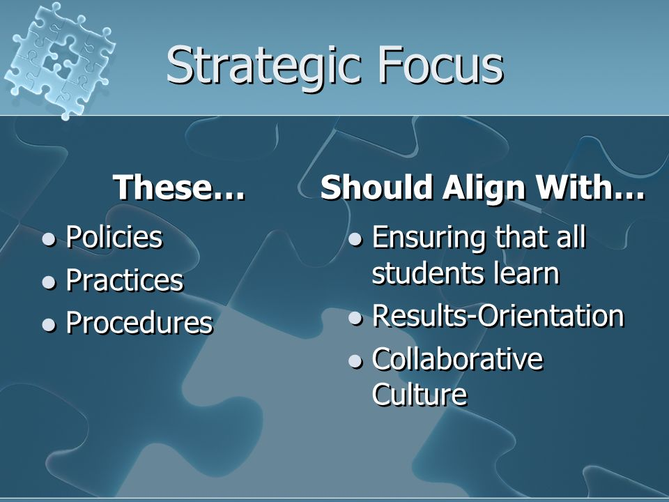 Strategic Focus These… Policies Practices Procedures Should Align With… Ensuring that all students learn Results-Orientation Collaborative Culture
