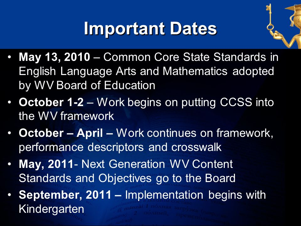 Important Dates May 13, 2010 – Common Core State Standards in English Language Arts and Mathematics adopted by WV Board of Education October 1-2 – Wor
