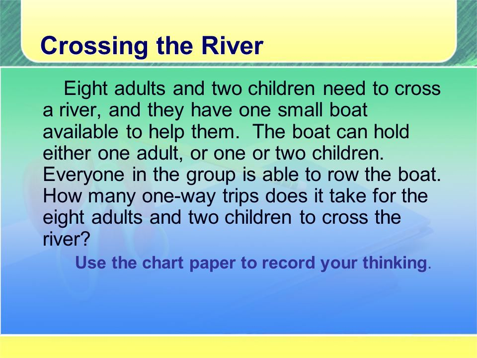 Crossing the River Eight adults and two children need to cross a river, and they have one small boat available to help them.