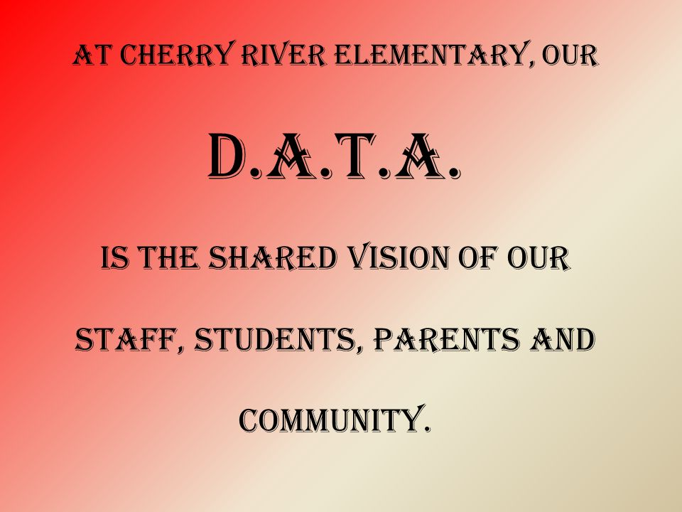 At Cherry River elementary, our D.A.T.A.