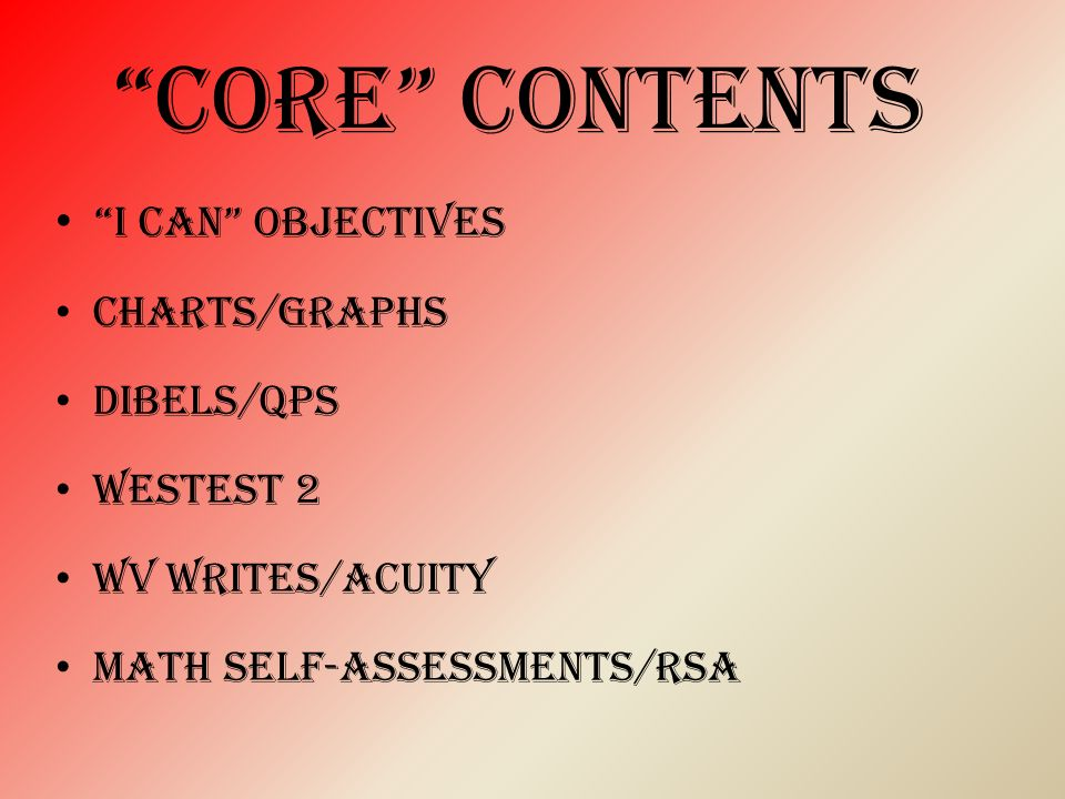 core contents I CAN objectives CHARTS/GRAPHS Dibels/qps Westest 2 Wv writes/acuity Math self-assessments/rsa