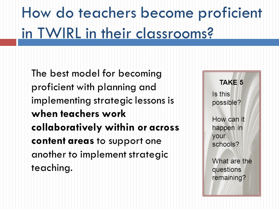 How do teachers become proficient in TWIRL in their classrooms.