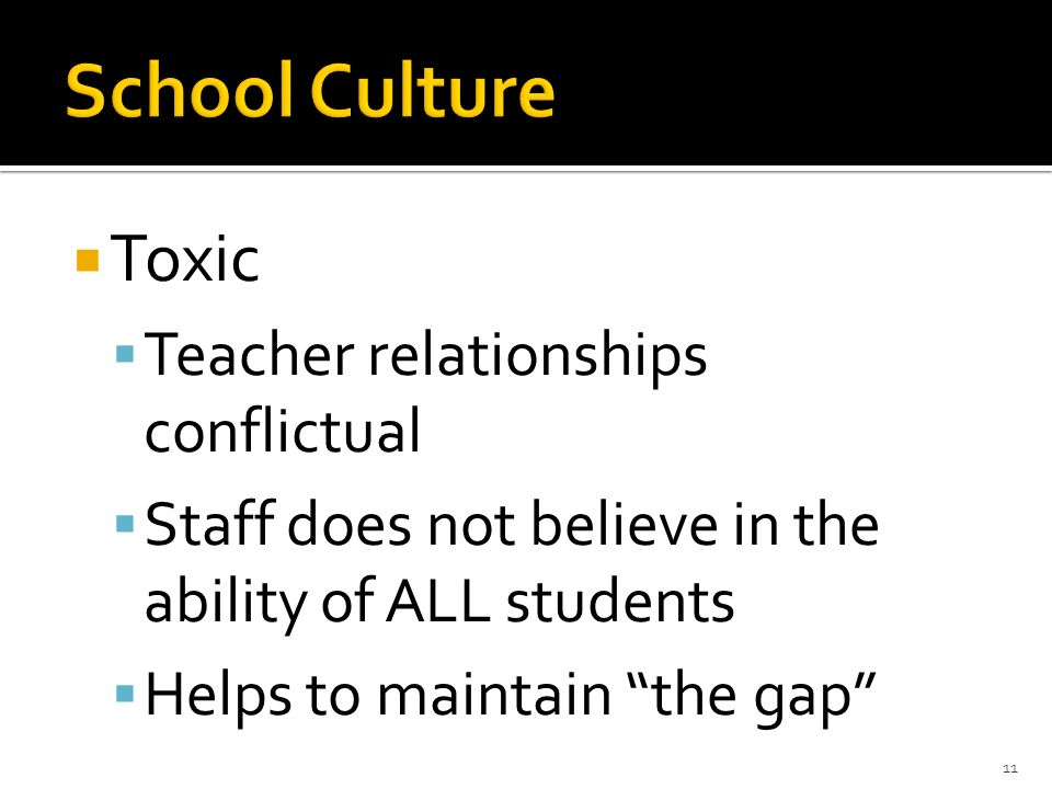Toxic Teacher relationships conflictual Staff does not believe in the ability of ALL students Helps to maintain the gap 11