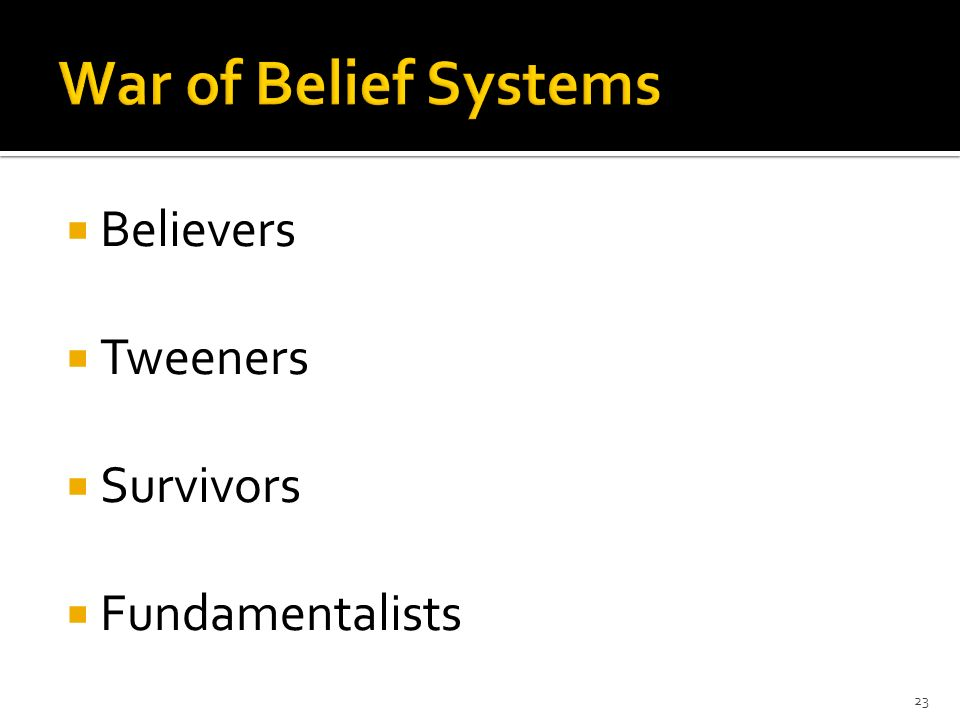 Believers Tweeners Survivors Fundamentalists 23