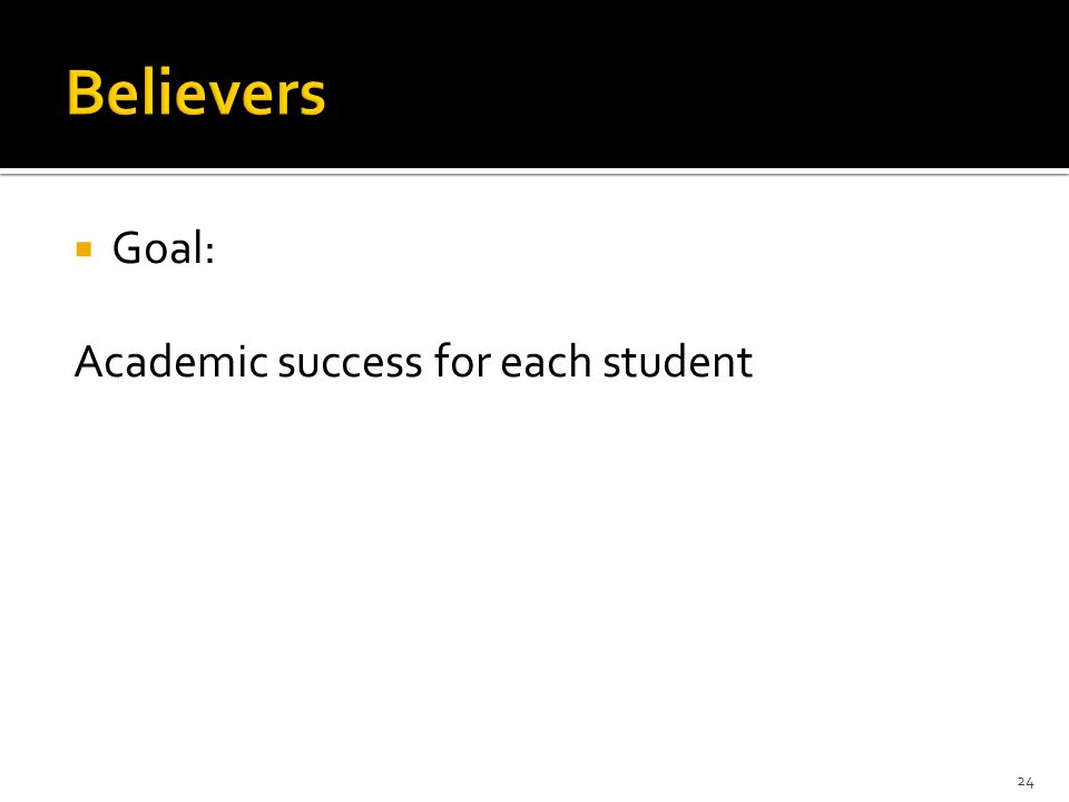 Goal: Academic success for each student 24