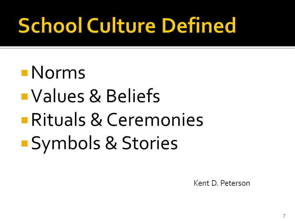 Norms Values & Beliefs Rituals & Ceremonies Symbols & Stories Kent D. Peterson 7