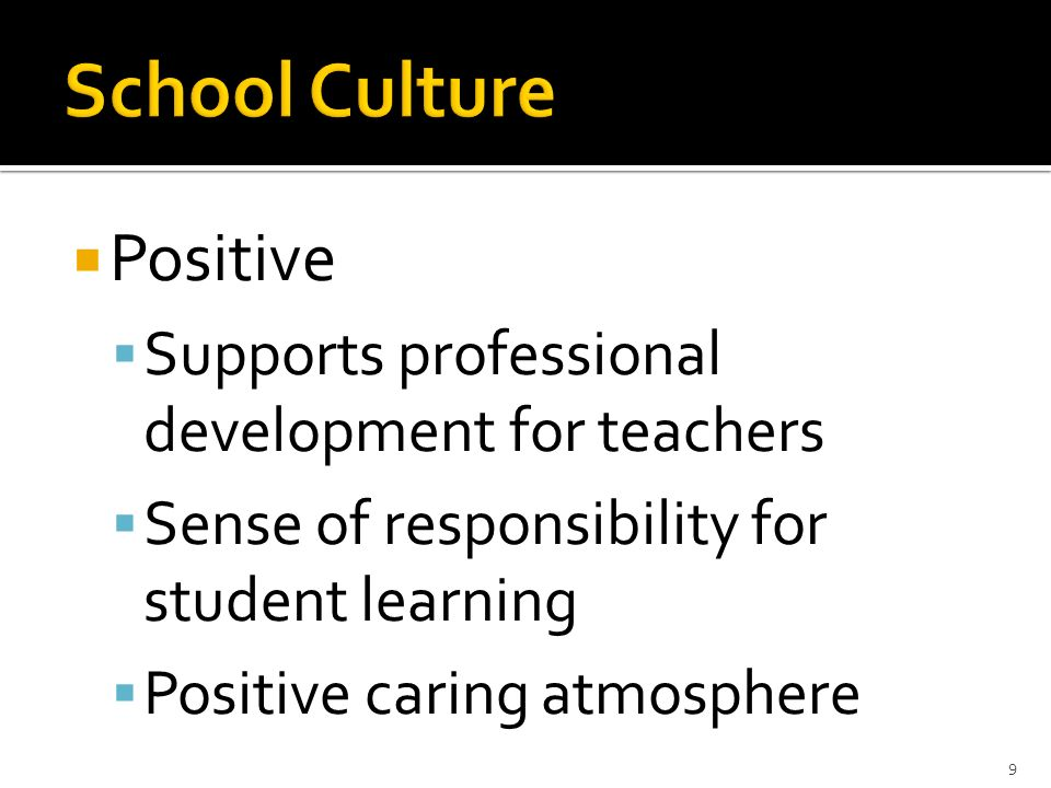 Positive Supports professional development for teachers Sense of responsibility for student learning Positive caring atmosphere 9