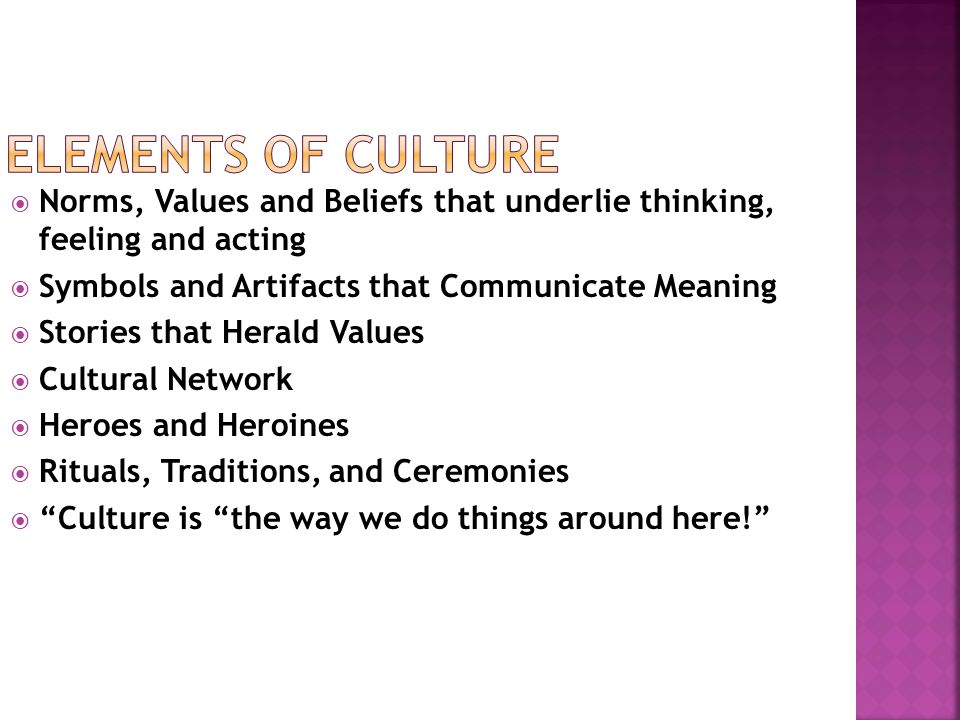 Norms, Values and Beliefs that underlie thinking, feeling and acting Symbols and Artifacts that Communicate Meaning Stories that Herald Values Cultural Network Heroes and Heroines Rituals, Traditions, and Ceremonies Culture is the way we do things around here!