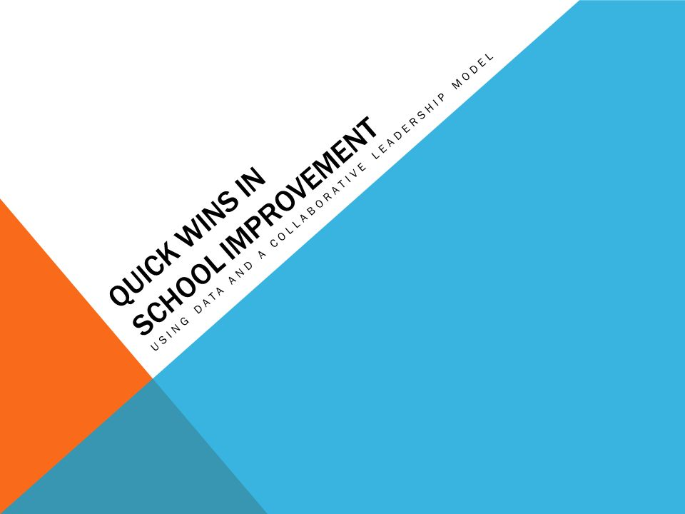 QUICK WINS IN SCHOOL IMPROVEMENT USING DATA AND A COLLABORATIVE LEADERSHIP MODEL