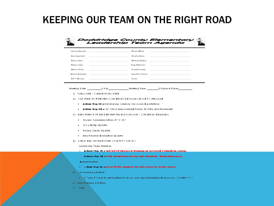 KEEPING OUR TEAM ON THE RIGHT ROAD