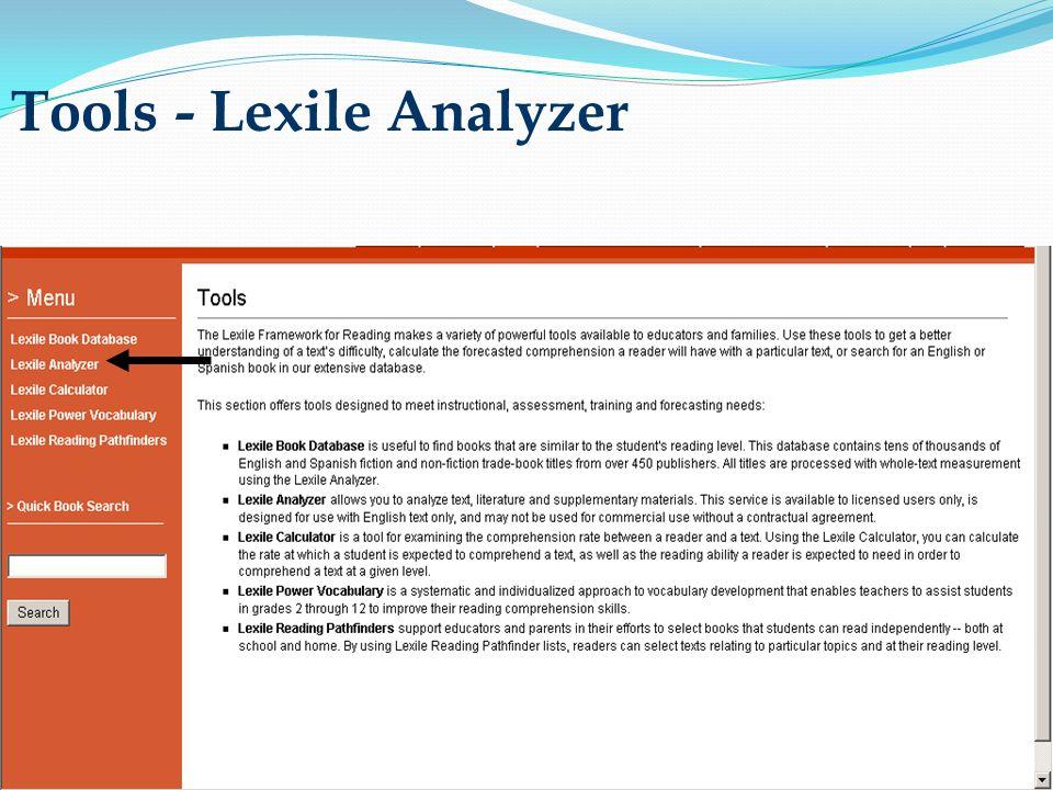 Tools - Lexile Analyzer