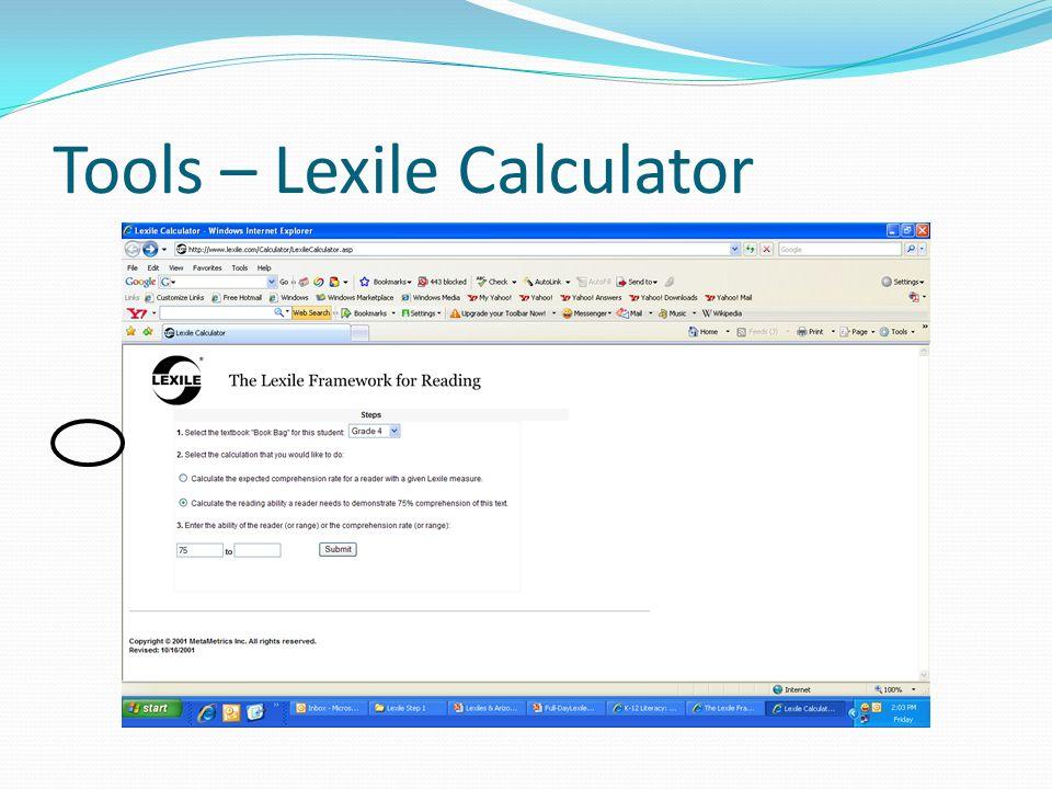 Tools – Lexile Calculator