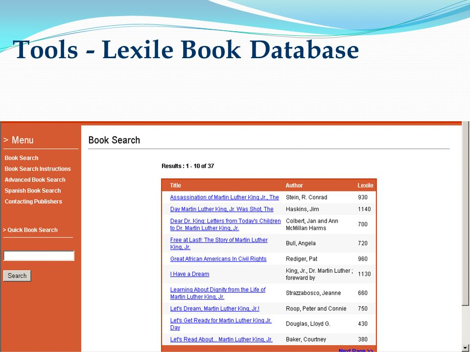 Tools - Lexile Book Database