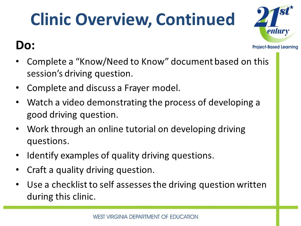 Clinic Overview, Continued Do: Complete a Know/Need to Know document based on this sessions driving question. Complete and discuss a Frayer model. Wat