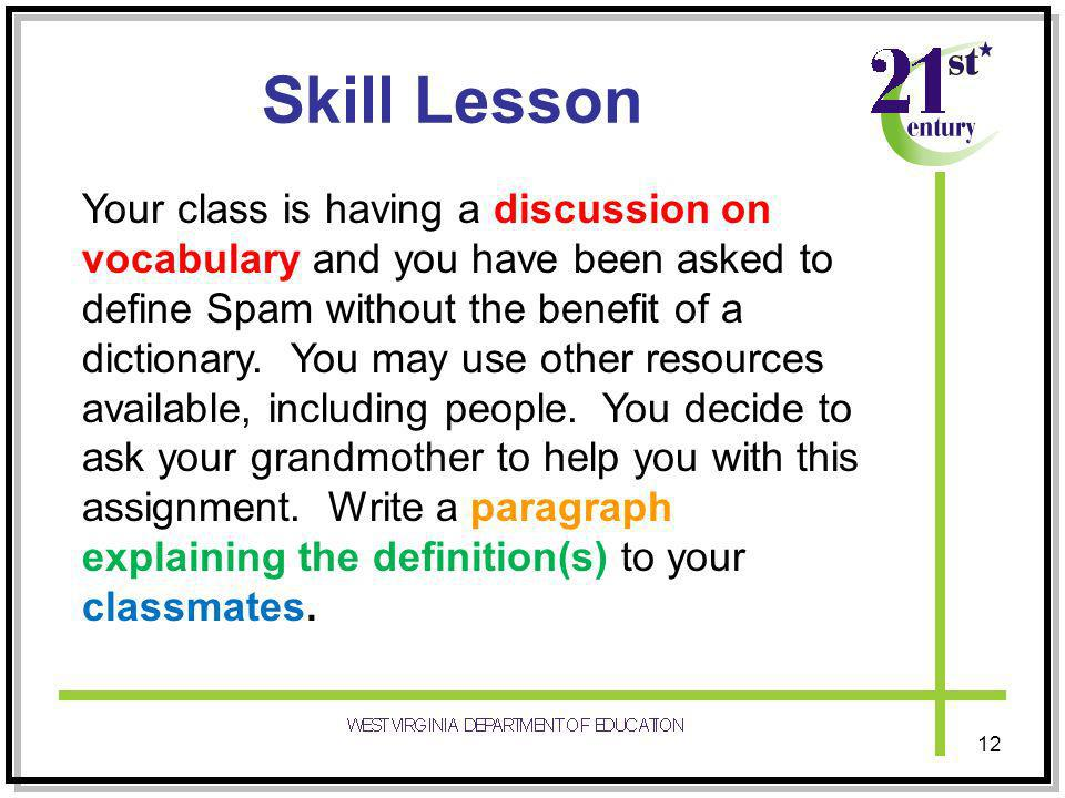 Skill Lesson Your class is having a discussion on vocabulary and you have been asked to define Spam without the benefit of a dictionary.