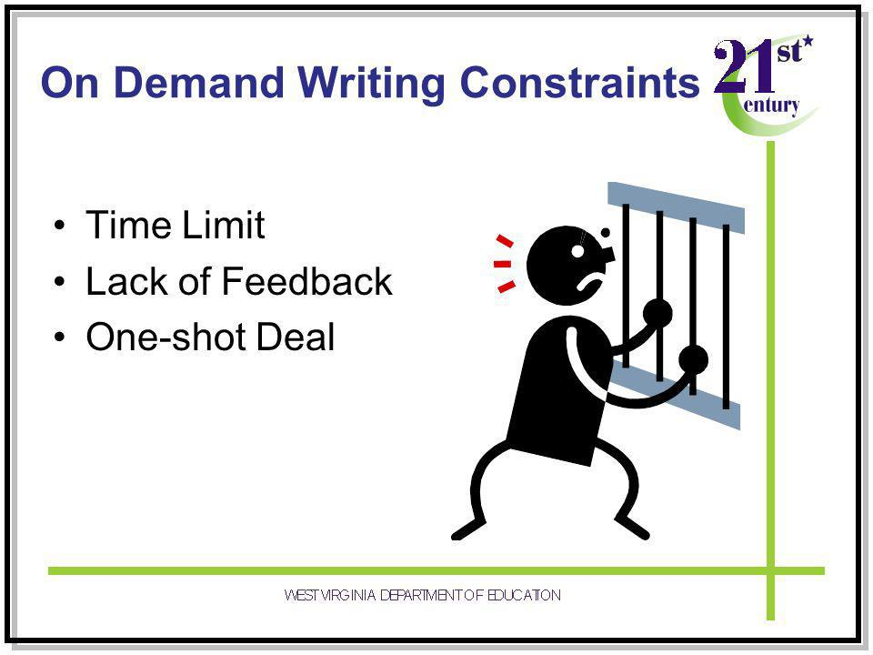 On Demand Writing Constraints Time Limit Lack of Feedback One-shot Deal