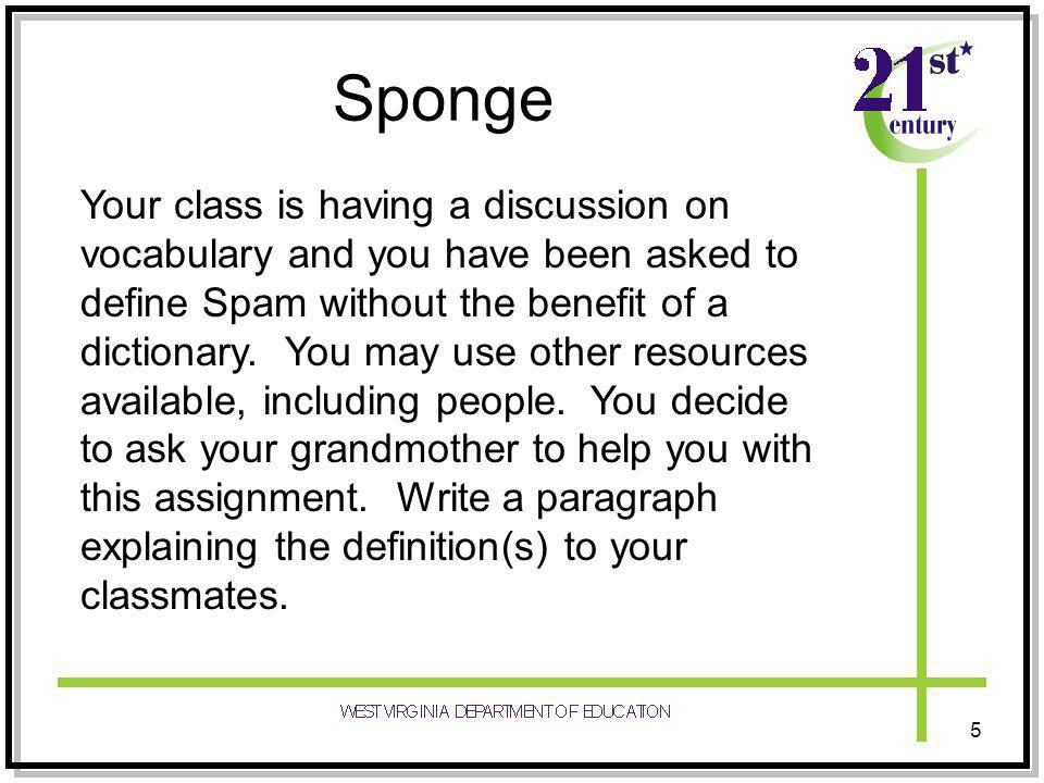 Sponge Your class is having a discussion on vocabulary and you have been asked to define Spam without the benefit of a dictionary.