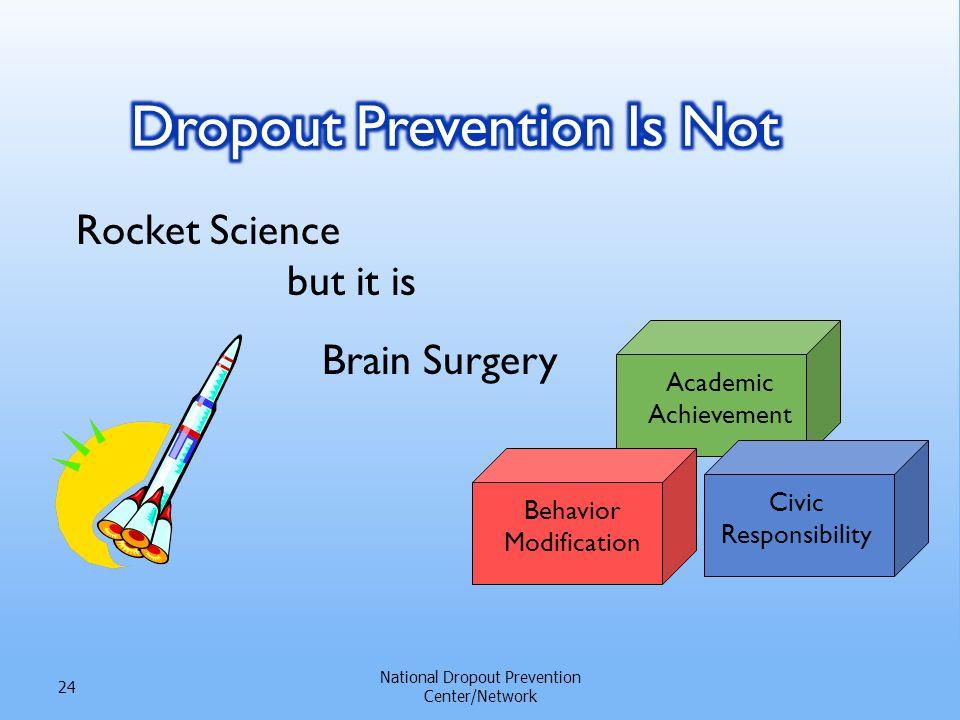 Rocket Science but it is National Dropout Prevention Center/Network 24 Academic Achievement Behavior Modification Civic Responsibility Brain Surgery