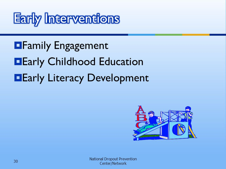 Family Engagement Early Childhood Education Early Literacy Development National Dropout Prevention Center/Network 30