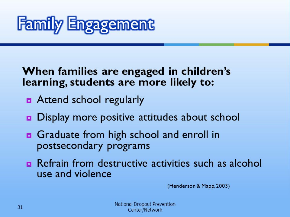When families are engaged in childrens learning, students are more likely to: Attend school regularly Display more positive attitudes about school Graduate from high school and enroll in postsecondary programs Refrain from destructive activities such as alcohol use and violence National Dropout Prevention Center/Network 31 (Henderson & Mapp, 2003)
