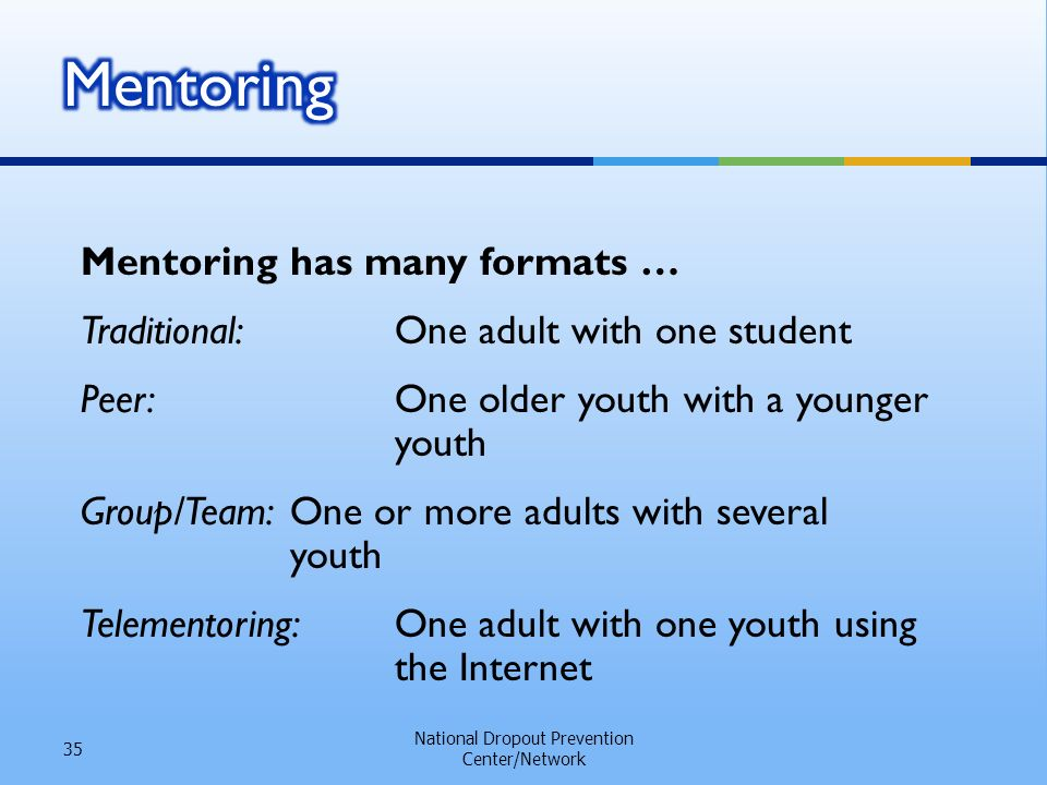 Mentoring has many formats … Traditional:One adult with one student Peer:One older youth with a younger youth Group/Team:One or more adults with several youth Telementoring:One adult with one youth using the Internet National Dropout Prevention Center/Network 35