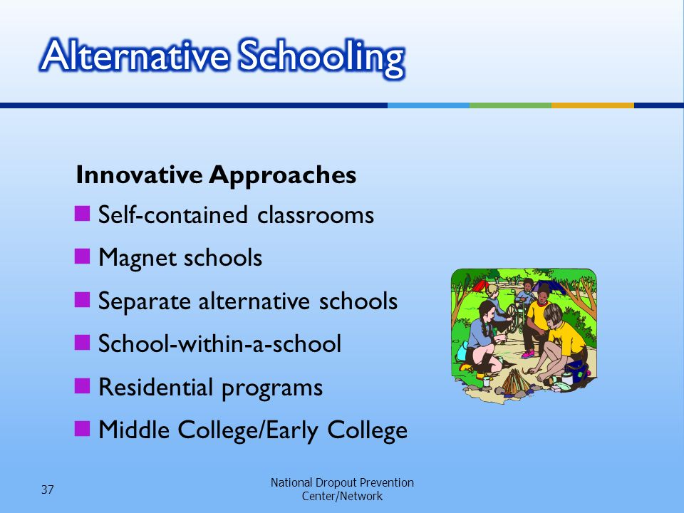 Innovative Approaches National Dropout Prevention Center/Network 37 Self-contained classrooms Magnet schools Separate alternative schools School-within-a-school Residential programs Middle College/Early College