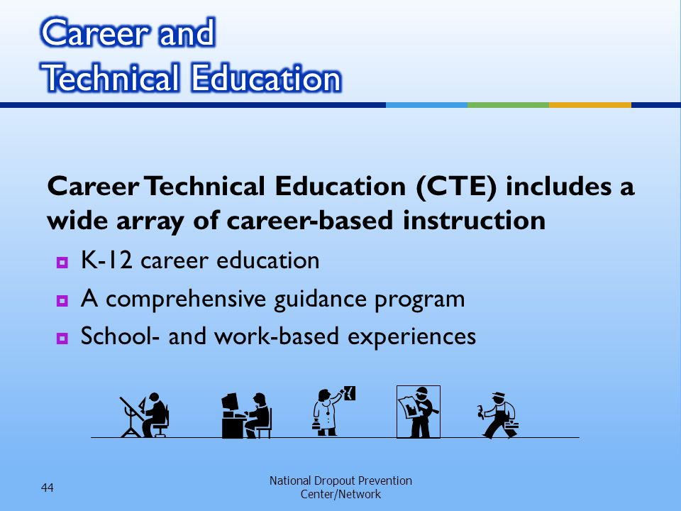 Career Technical Education (CTE) includes a wide array of career-based instruction K-12 career education A comprehensive guidance program School- and work-based experiences National Dropout Prevention Center/Network 44