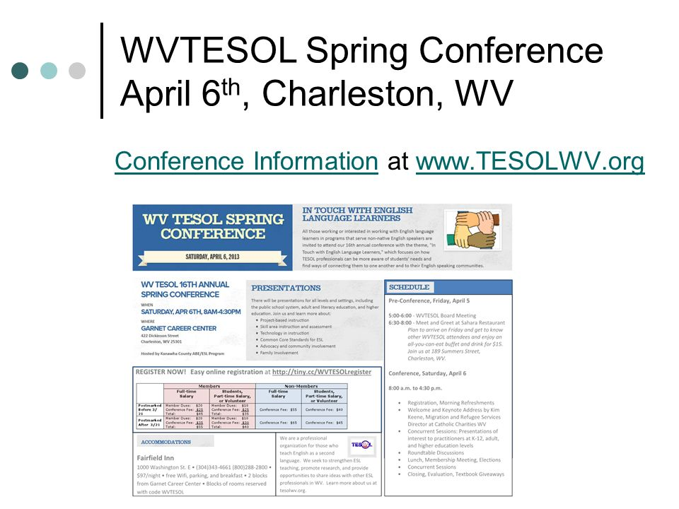 WVTESOL Spring Conference April 6 th, Charleston, WV Conference InformationConference Information at www.TESOLWV.orgwww.TESOLWV.org